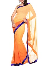 Orange Ombre Faux Chiffon Saree With Blouse Piece - By