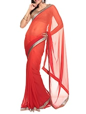 Red Ombre Faux Chiffon Saree With Blouse Piece - By