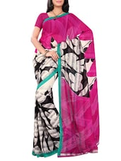 Multicolor Faux Georgette Printed Saree - By