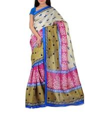 White & Pink Bhagalpuri Silk Printed Saree - By
