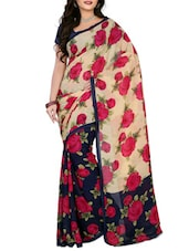Beige & Red Faux Georgette  Printed Saree - By