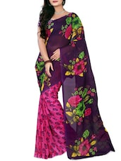 Purple & Pink Faux Georgette  Printed Saree - By