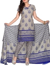 Grey Polycotton Printed Suit - By