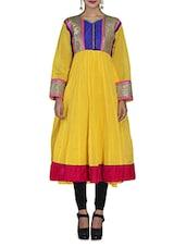 Yellow Chanderi Cotton Anarkali Kurta - By