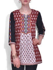 Brown And White Cotton Printed Top - By