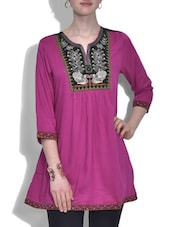 Purple Rayon Embroidered Top - By