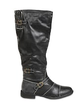 Buckle Detailed Black Leather Knee-High Boots - By
