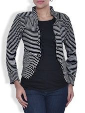 Monochromatic Striped Full Sleeved Jacket - By