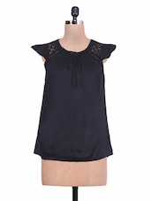 Solid Black Laced Rayon Top - By