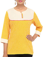 Yellow Printed Cotton Short Kurti - By