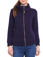 Solid Navy Cotton Poly Fleece Sweatshirt - By