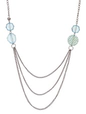 Silver And Blue Beaded Necklace - By