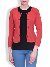 Coral Short Jacket With Black Cotton Tee - By