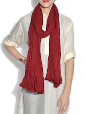 Solid Maroon Cotton Dupatta - By