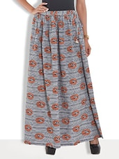 Grey Cotton Bird Printed Long Skirt - By