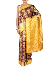 Wine And Mustard Embroidered Art Silk Saree - By