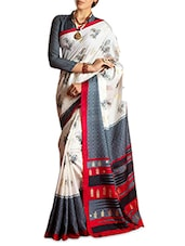 Multicoloured Silk Blend Printed Saree - By