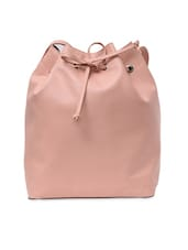 Baby Pink Drawstring Bucket Bag With Pouch - By