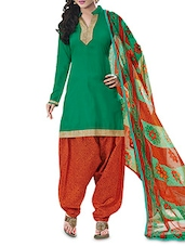 Green Cotton Printed Semi-Stitched Suit Set - By