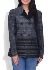 Grey Woollen Blend Striped Coat - By