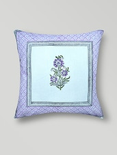 White Printed Embroidered Cotton Cushion Cover - By