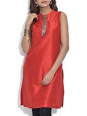 Red Dupion Silk Sleeveless Kurti - By