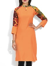 Orange Crepe Kurta With Printed Sleeves - By