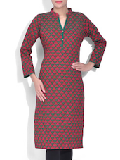Dark Pink And Green Printed Cotton Kurta - By