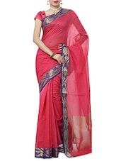 Pink And Blue Gadwal Cotton Handloom Saree - By