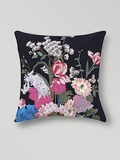 Set Of 2 Black Floral Printed Cotton Cushion Covers - By