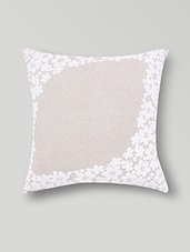Set Of 2 Beige Floral Laced Cotton Cushion Covers - By