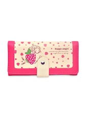 Pink Strawberry And Text Printed Leatherette Wallet - By