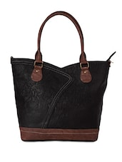 Black Leatherette Casual Handbag - By