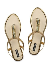 Gold Faux Leather  Toe Separated Sandals - By