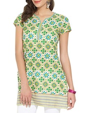 Multicoloured Printed Short-sleeved Cotton Kurta - By