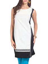 White Printed Sleeveless Cotton Kurta - By