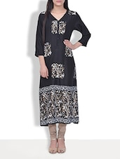 Black Paisley Rayon Long Kurta - By