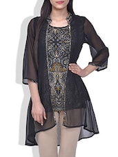 Black Printed Tunic With Attached Shrug - By