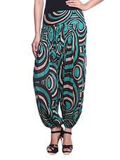 Green Printed Cotton Harem Pants - By