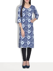 Multicolored Cotton Printed Three Quarter Sleeved Kurta - By
