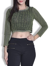 Green And Black Crop Top - By