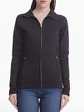 Solid Black Zippered Fleece Sweatshirt - By