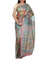Multicolored Brocade Embellished Banarasi Silk Saree - By