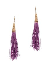 Purple Embellished Drop Earrings - By