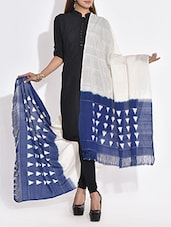 White And Blue Triangle Patterned Cotton Dupatta - By
