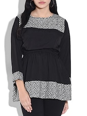 Black Poly Crepe Printed Three Quarter Sleeves Top - By