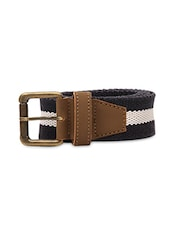 White And Black Canvas Buckled Belt - By