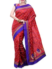 Red Silk Embroidered Saree - By