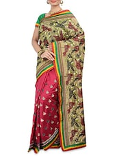 Multicolored Raw Silk Printed Saree - By