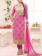 Pink And Beige Georgette Embroidered Suit Set - By